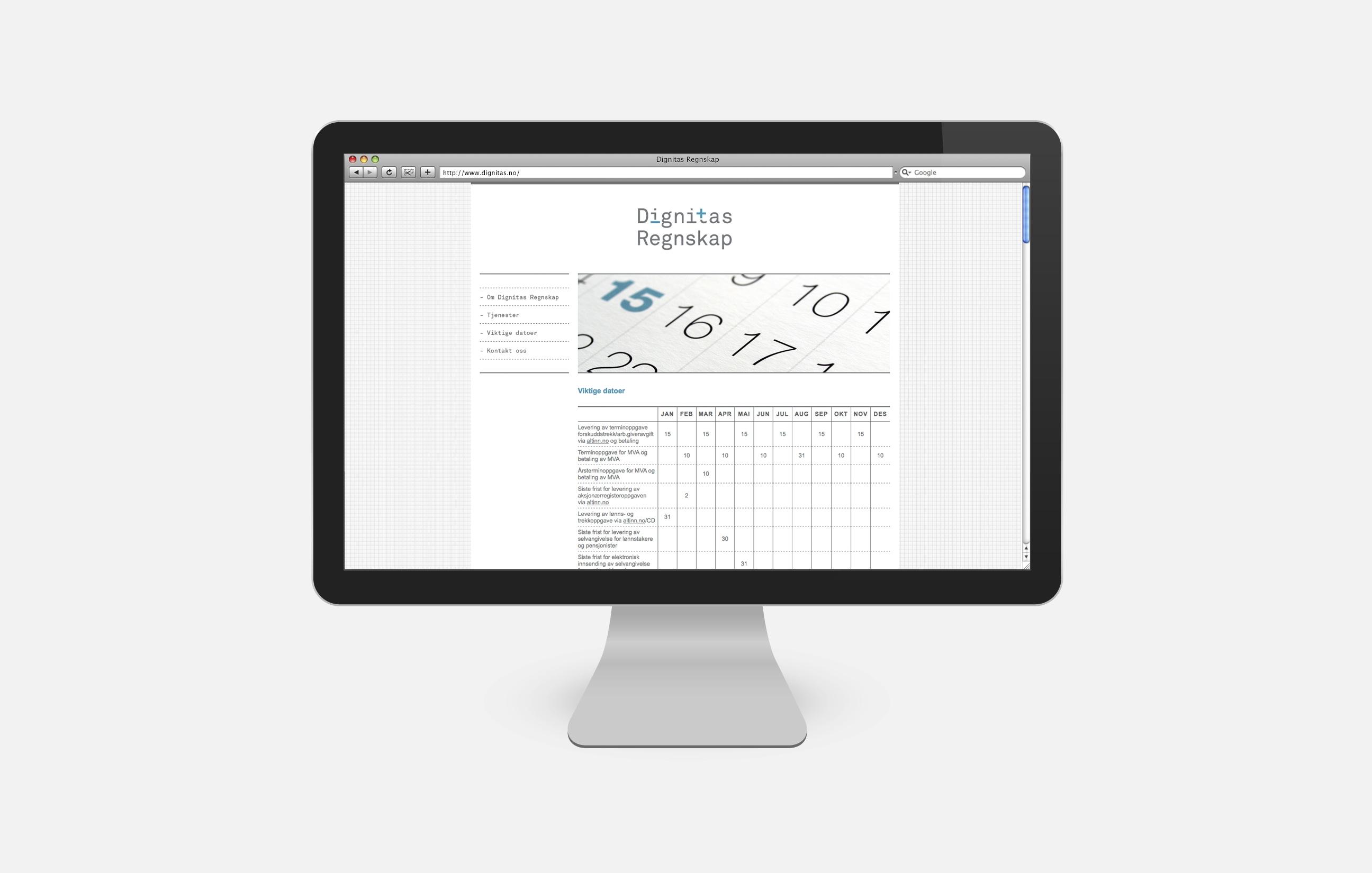 Dignitas Regnskap nettside på skjerm