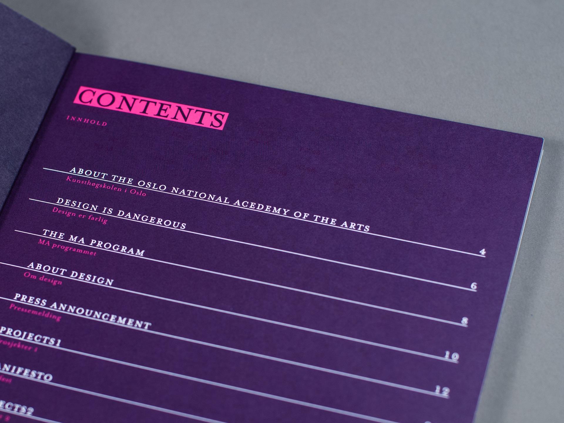 KHiO katalog - innholdsfortegnelse detalj. Bilde.