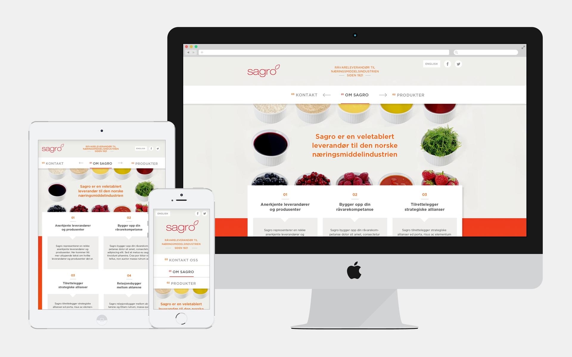 Sagro nettside på skjerm, ipad og mobil