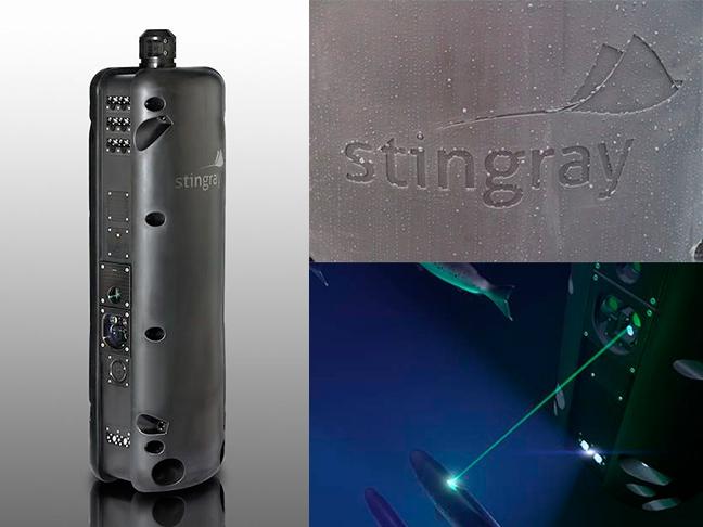 Stingray logo på enhet og laser. 3 bilder.