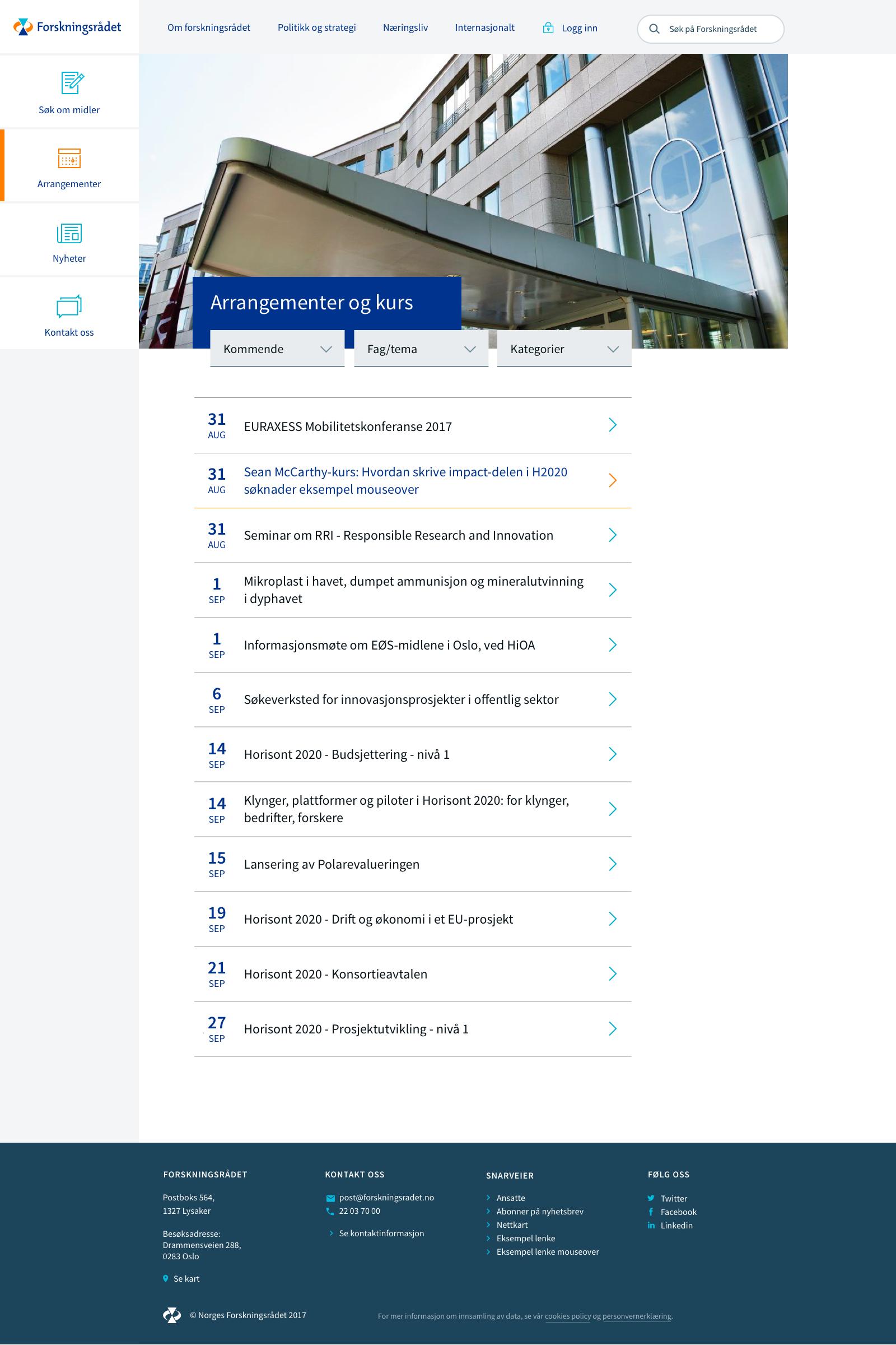 Forskningsrådet profil eksempel nettside arrangementer og kurs
