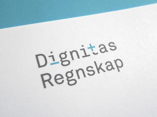 Dignitas Regnskap logo på brevark