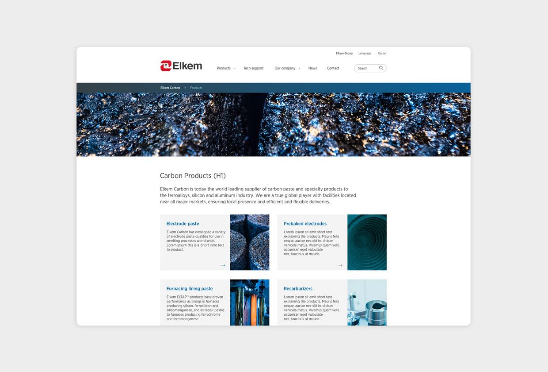 Elkem carbon nettside skjerm oversikt over produkter