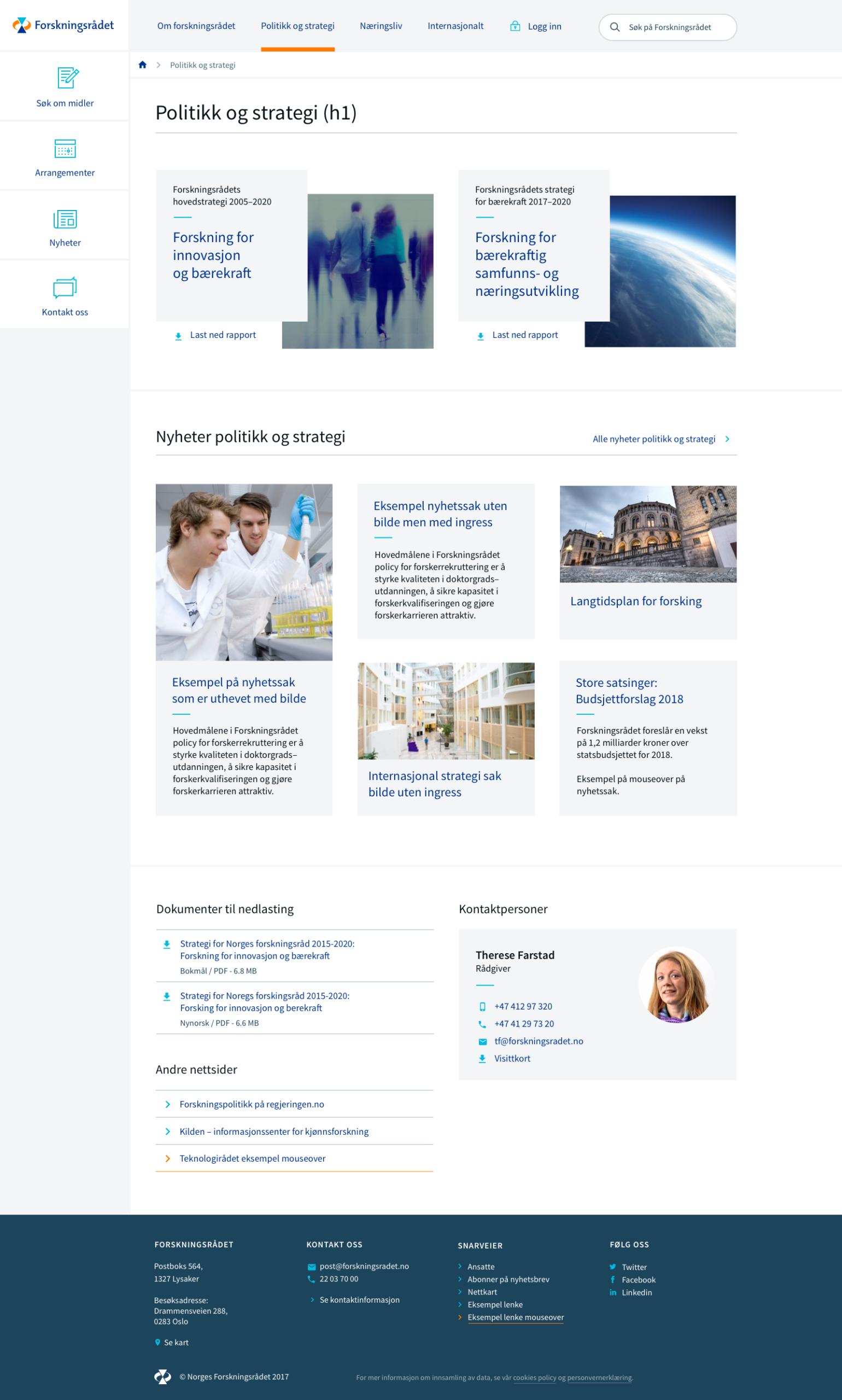 Forskningsrådet profil eksempel nettside politikk og strategi