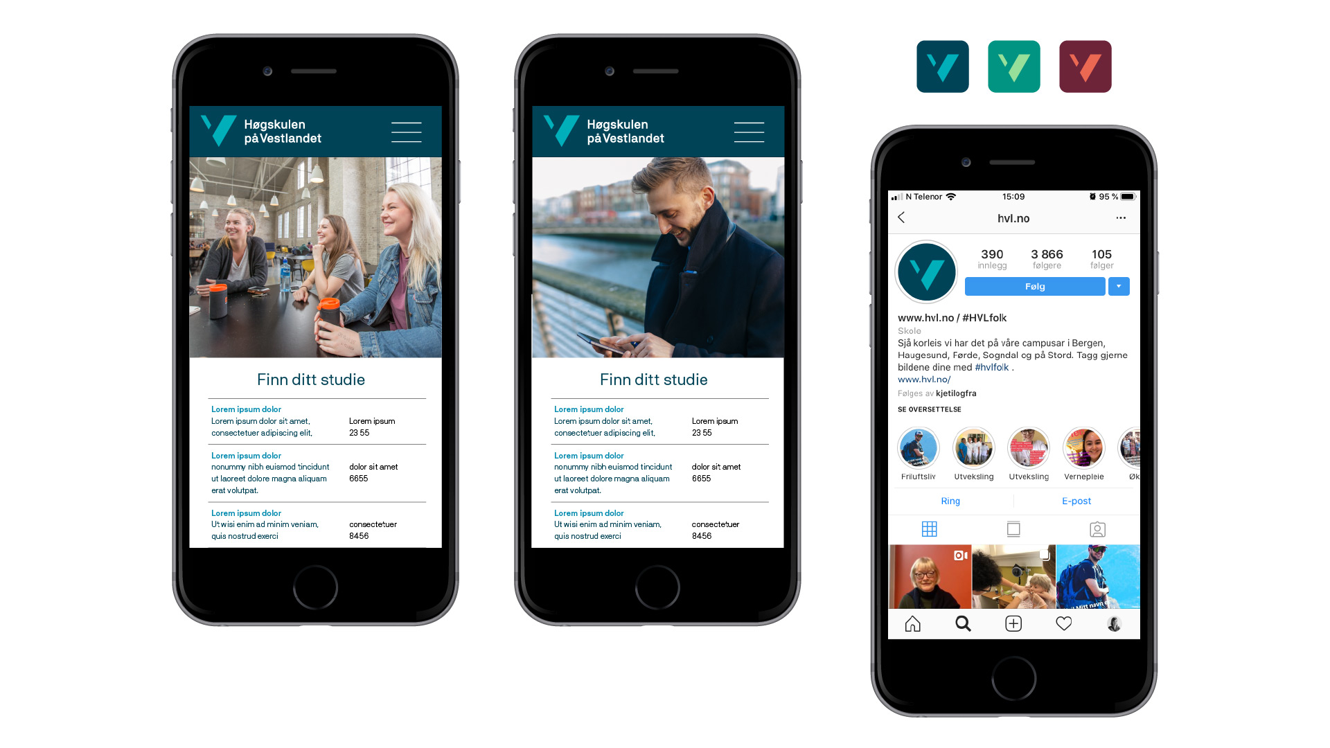 Høgskulen på Vestlandet profil på mobil nettside og instagram