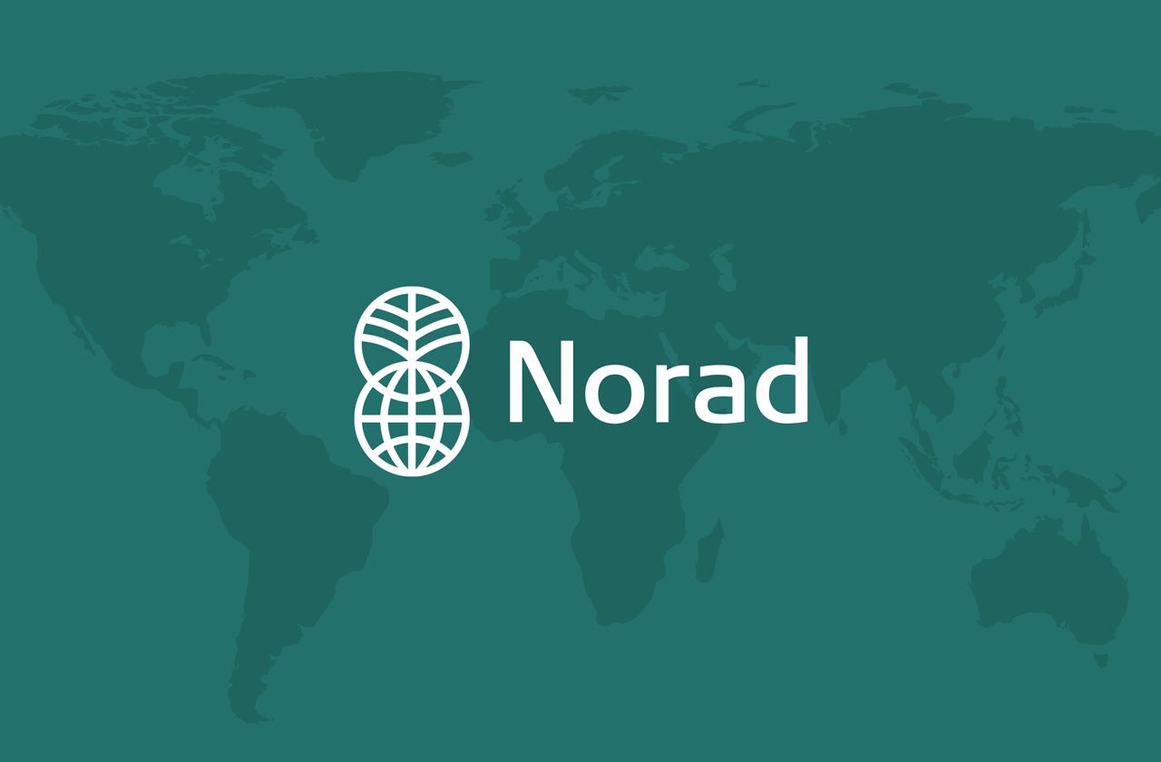 Norad logo på kart, grafikk.