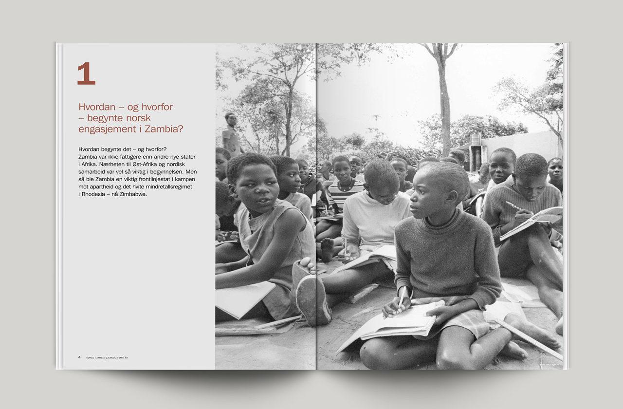 Norad rapport oppslag med bilde fra sort-hvit Zambia