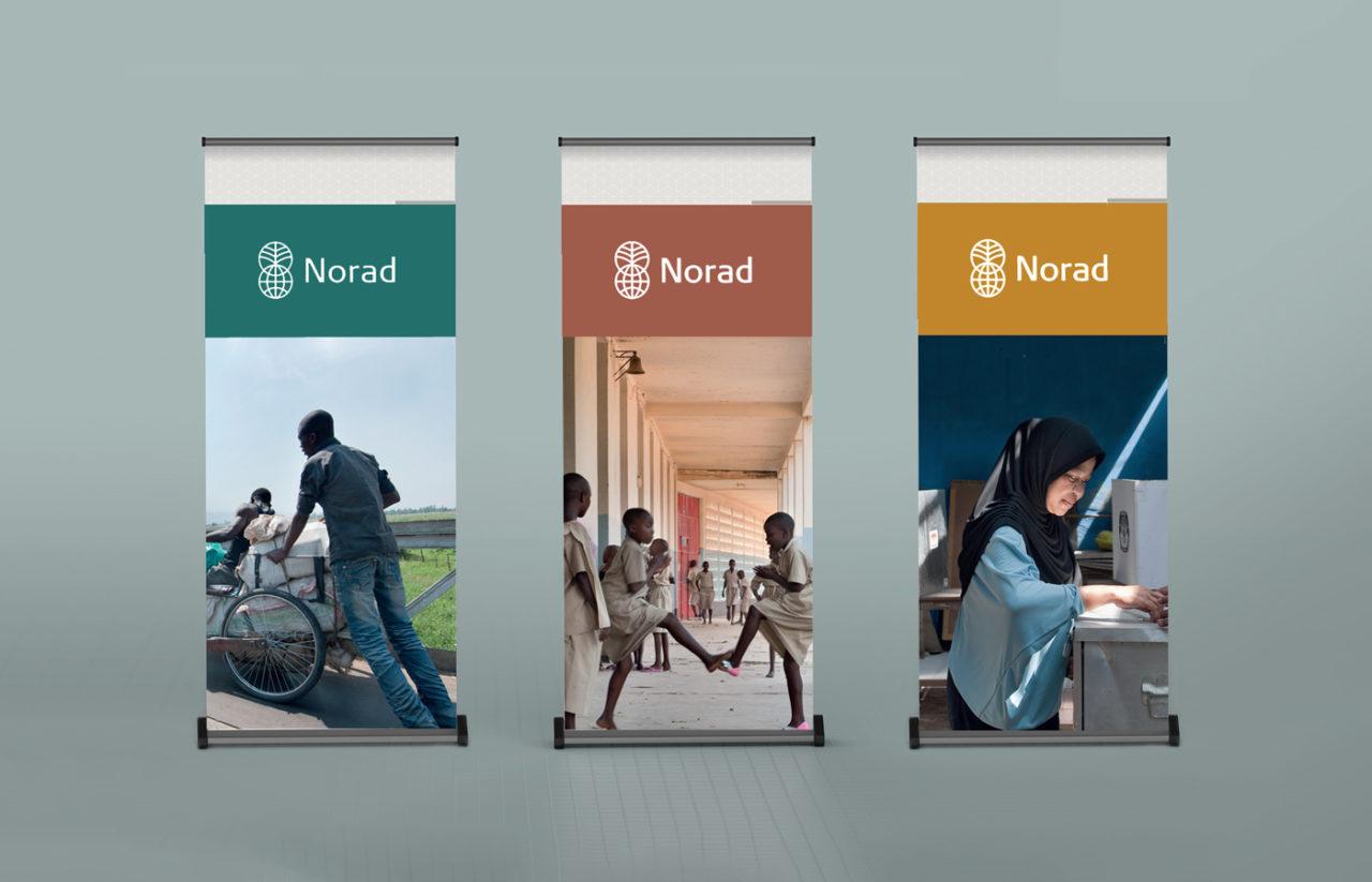 Norad tre roll-uper med bilder, grafikk