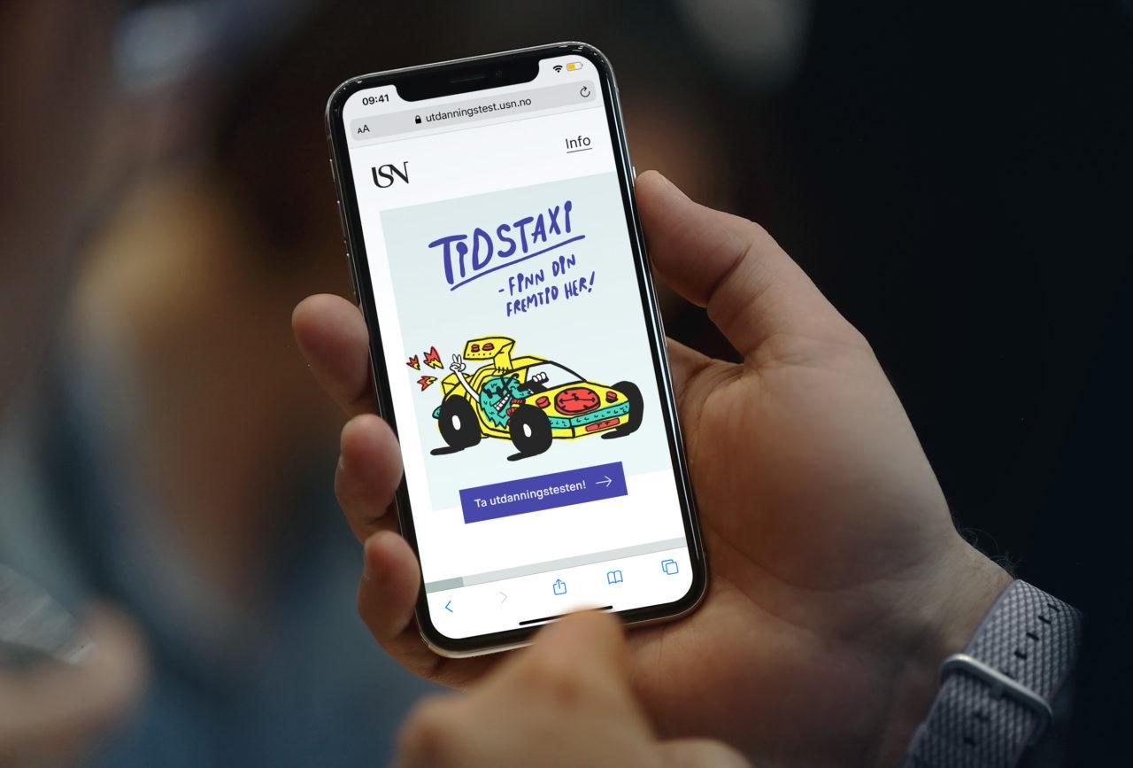 Mobil som viser forside på USN sin utdanningstest